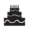 isolated birthday cake silhouette vector image