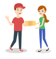 pizza delivery boy handing three pizza boxes to a vector image