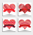 set of red hearts with ribbons and shadows vector image