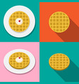 waffle with ice cream on plate in flat style vector image