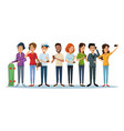 white background with group people social network vector image