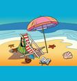 beach lounger and sun umbrella vector image
