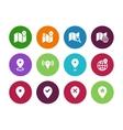 Map circle icons GPS and Navigation vector image