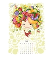 Calendar 2016july month Season girls design vector image