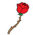 freehand drawn cartoon rose vector image vector image