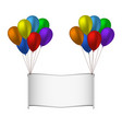 colorfull balloons and banner on white background vector image