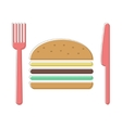 cutlery and burger icon vector image