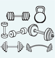 Dumbbells icons vector image