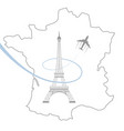 eiffel tower and map on white vector image