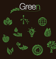 green eco icons set hand drawn vector image