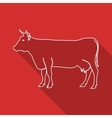 Icon Contour cow Flat style long shadows vector image