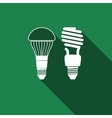 LED bulb and fluorescent light bulb icon vector image