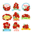 spring flower bouquet isolated icon set vector image