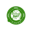 world environment day stamp icon ecology vector image