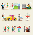 lottery winners characters set vector image