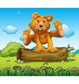 A bear playing with the trunk outdoor vector image vector image