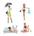 four modern girls vector image