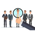Recruitment Hand Zoom Magnifying Glass Picking vector image
