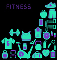 Sports Background with Fitness Icons vector image