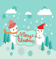 Winter background with two cute snowmen vector image