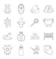 Newborn icons set outline style vector image