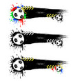 set grunge banners with blots and soccer balls vector image