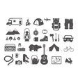 Hiking camping - set of icons and elements vector image vector image