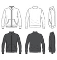 Front back and side views of blank jacket with vector image