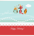 cartoon birds on a greeting card vector image vector image