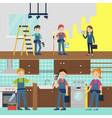 house improvement team horizontal banners vector image