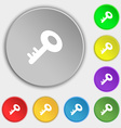 Key icon sign Symbol on eight flat buttons vector image