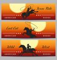 rodeo cowboy banner set vector image