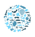 flying theme blue symbols and icons set in circle vector image