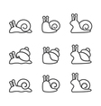 snail icon set line vector image vector image