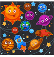 cartoon planets solar system space universe vector image vector image
