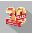 30th Year Anniversary Celebration Design vector image