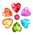 Seamless texture of colored heart cut gems vector image vector image