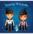 Cartoon boy and girl in wizard costume vector image