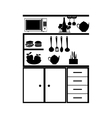 kitchen with utensils icon vector image
