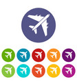 passenger airliner set icons vector image