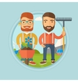 Two men are going to plant flower vector image