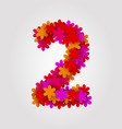 floral numbers colorful flowers number 2 vector image