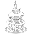 outlined birthday cake vector image vector image