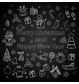 Happy New Year and Merry Christmas set on a chalk vector image