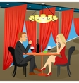 man and woman sitting in restaurant vector image