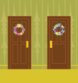 Flower wreath on wooden door vector image