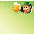 Cartoon Leprechaun with Mug of Ale Image vector image