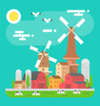Colorful farm landscape scene in flat design vector image