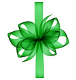 green emerald transparent bow and ribbon top view vector image
