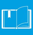 open book icon white vector image